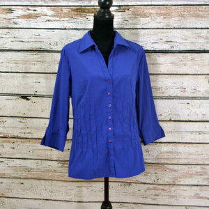 NWOT Cobalt 3/4 sleeve button down pleat detail